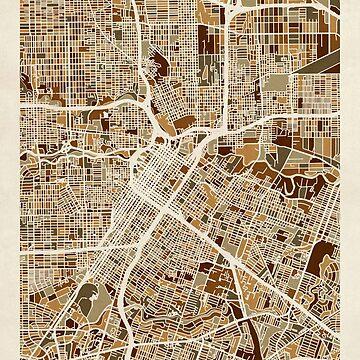 Houston Texas City Street Map by ArtPrints
