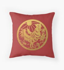 Chinese Zodiac Rooster in Gold Throw Pillow