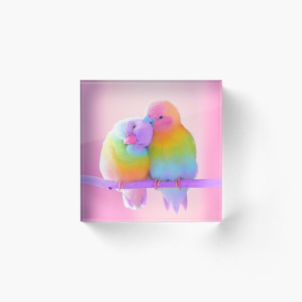 Bird - Rainbow Acrylic Block