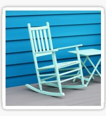 Coastal Beach Art - Blue Rocking Chair - Sharon Cummings Artist Sticker