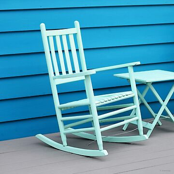 Coastal Beach Art - Blue Rocking Chair - Sharon Cummings Artist by SharonCummings