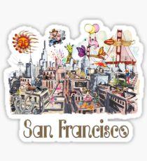 Pop Art Surreal CRAZY San Francisco  Sticker