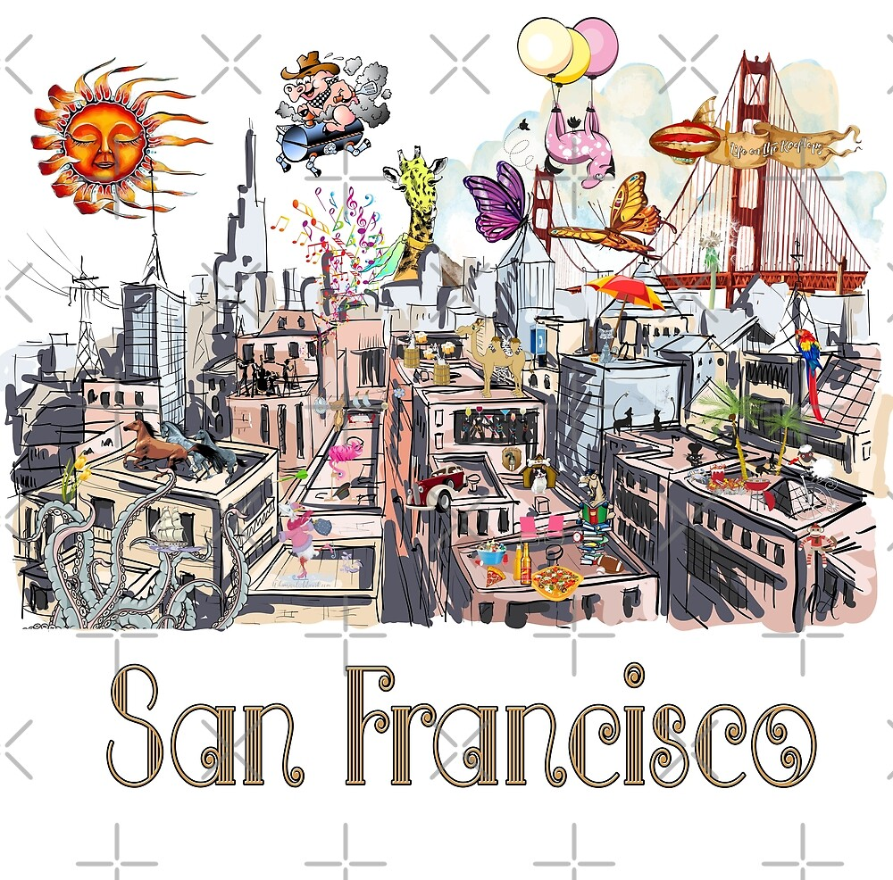 Pop Art Surreal CRAZY San Francisco  by IconicTee