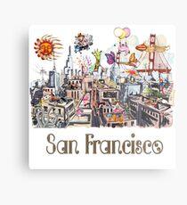 Pop Art Surreal CRAZY San Francisco  Metal Print