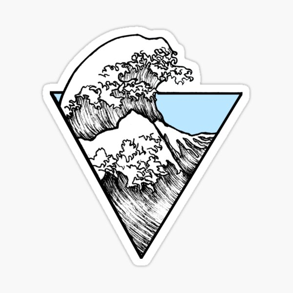 The Great Wave Surf Sticker Bleu Clair Sticker
