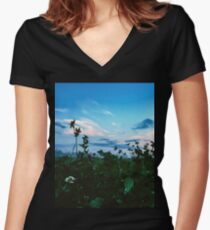 Mysterious nights on the fields Women's Fitted V-Neck T-Shirt