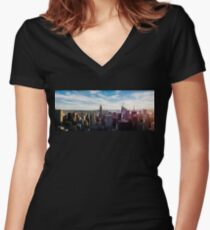 New York City Panorama Women's Fitted V-Neck T-Shirt