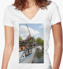 Vlaardingen The Netherlands Boats moored in the Oude Haven, Old Harbour. Women's Fitted V-Neck T-Shirt