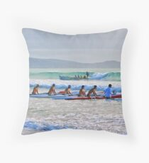 Skis and a surf boat at Lorne Throw Pillow