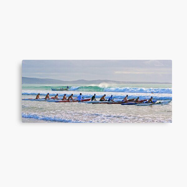 Skis and a surf boat at Lorne Canvas Print
