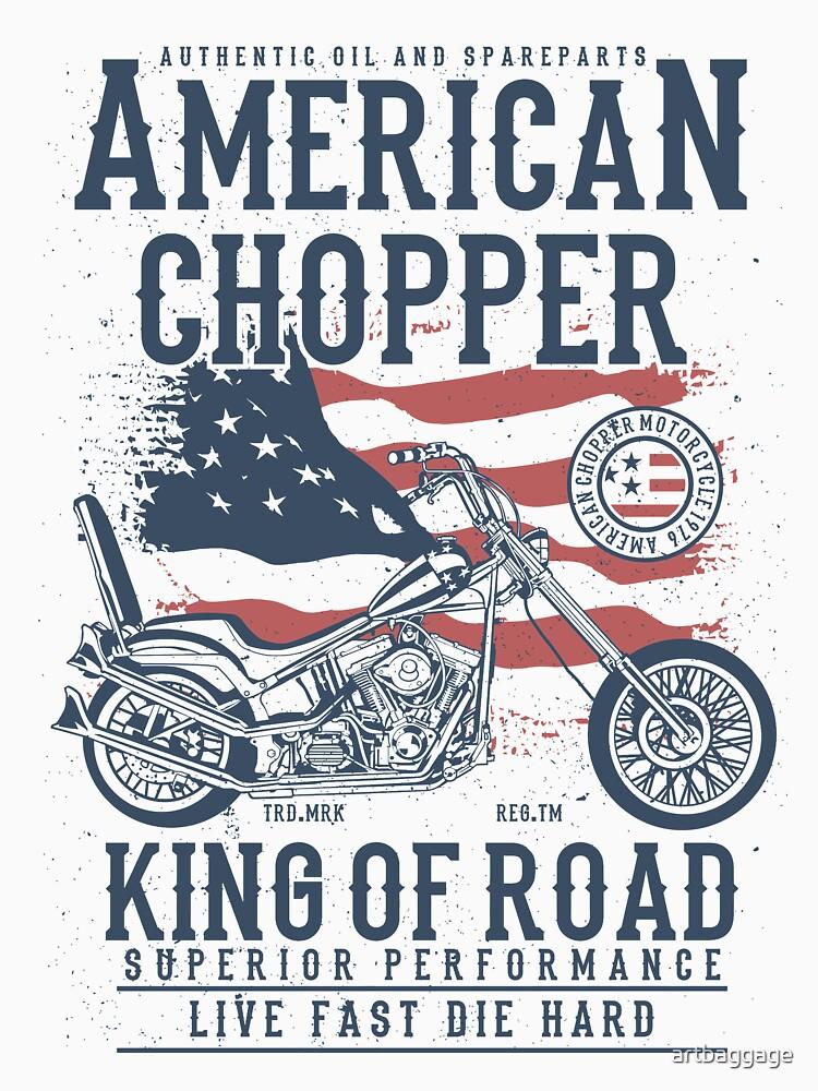 American Chopper King of Road Biker T-shirt by artbaggage