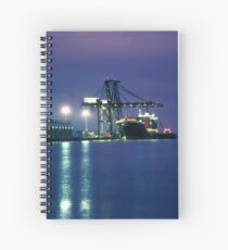 Containership loading in the Night, San Francisco, California Spiral Notebook