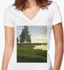 Silent summer nights by the lake Women's Fitted V-Neck T-Shirt