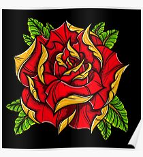Traditional Rose Tattoo Posters Redbubble