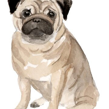 Pug Watercolor Dog by emrdesigns