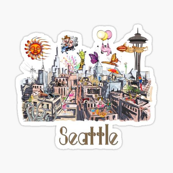 POP ART Crazy City of Seattle  Sticker