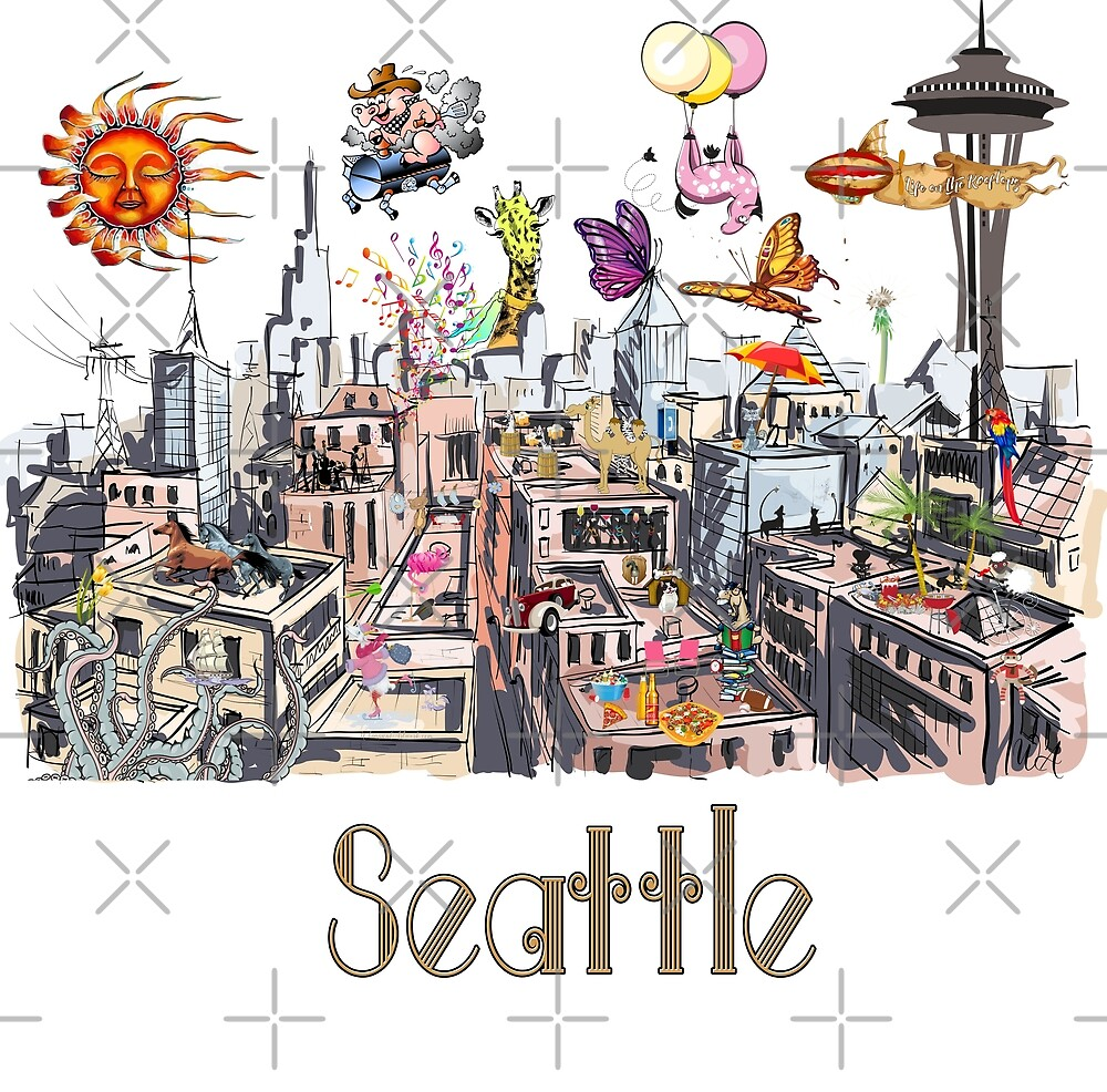 POP ART Crazy City of Seattle  by IconicTee