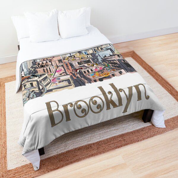 Surreal Pop Art Busy City of Brooklyn Comforter