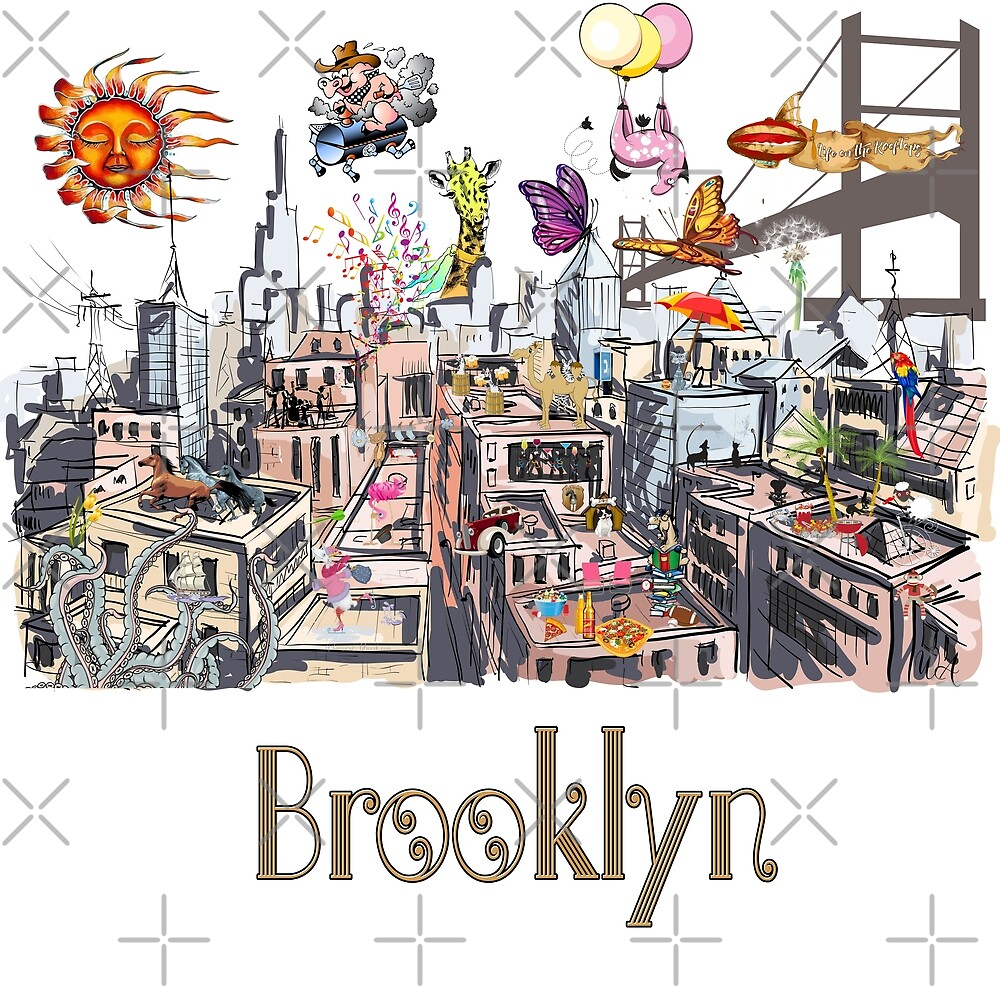 Surreal Pop Art Busy City of Brooklyn by IconicTee