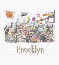 Surreal Pop Art Busy City of Brooklyn Wall Tapestry