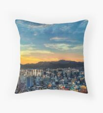 High View of Seoul During Sunset Throw Pillow