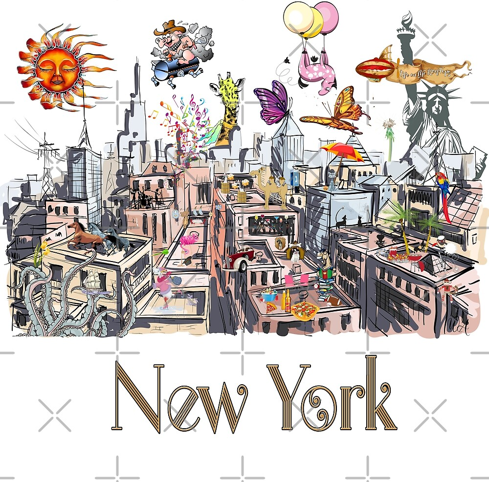 Pop Art New York City Surreal City Life  by IconicTee