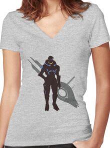 Garrus Vakarian - Sunset Shores Women's Fitted V-Neck T-Shirt