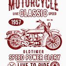 Authentic Motorcycle Classic Biker T-shirt by artbaggage