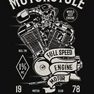 Motorcycle Motor Full Speed Vintage T-shirt by artbaggage