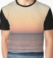 Flock of Seagulls at the Beach Graphic T-Shirt