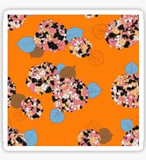 Hortensia flower on orange Sticker
