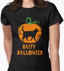 Halloween cat pumpkin Women's Fitted T-Shirt
