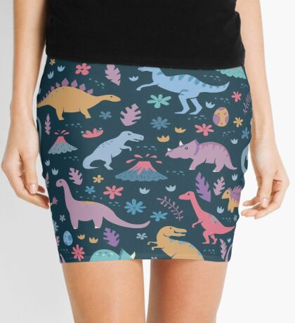 Dinosaur Pattern with Flowers and Volcanoes  Mini Skirt