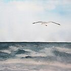 Seagull flying over the Ocean Painting by Sandra Connelly
