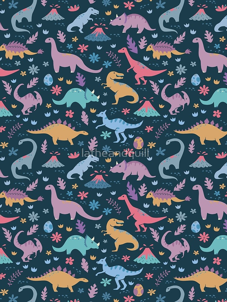 Dinosaur Pattern with Flowers and Volcanoes  by latheandquill