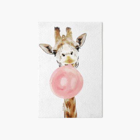 Pink Bubblegum Giraffe  Art Board Print