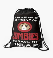 Funny Animal Guinea Pig Tshirt Design I would push you Drawstring Bag