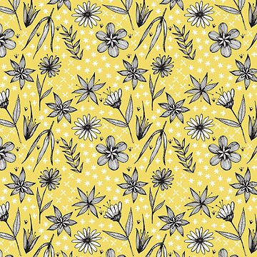 black and white floral pattern on golden yellow by swoldham