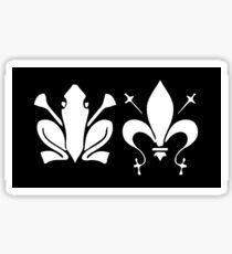 French Frog PRAISE KEK! Kekistani Clovis Gauls King of Franks Medieval Fleur de Lys Lis origine graphics in white ink black background Sticker