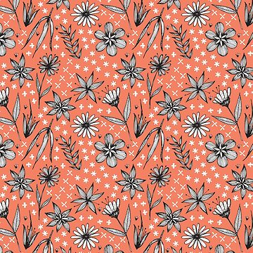 black and white floral pattern on a coral background by swoldham