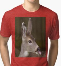 Deer Sticks Tounge Out Tri-blend T-Shirt