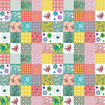 Colorful Patchwork Pattern with Dots and Hearts by Greenbaby