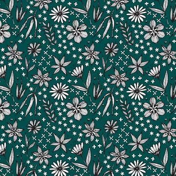 black and white floral pattern on a dark teal background by swoldham
