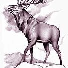 Red Stag Challenge Sepia by Patricia Howitt