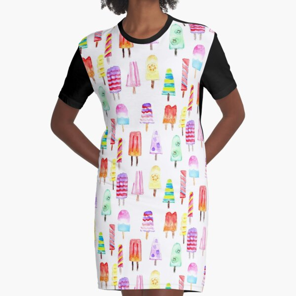 Misty Colorful Watercolor Summer Popsicles Graphic T-Shirt Dress