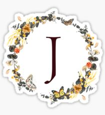 Monogram J Autumn Foliage And Butterflies Sticker