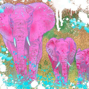 Pink Elephant Family  by CJOrazi
