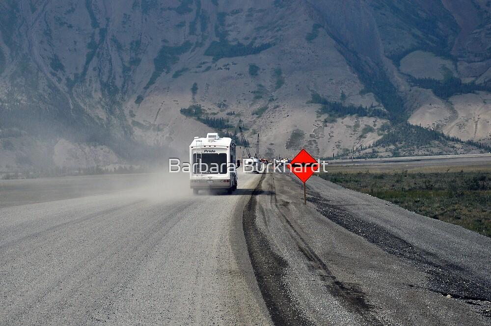 I See Red - Roadwork at Kluane Lake by Barbara Burkhardt