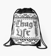 Thug Life Cat Drawstring Bag
