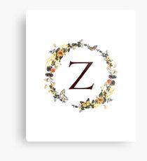Monogram Z Autumn Foliage And Butterflies Metal Print